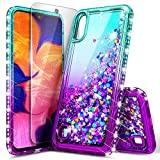 NageBee Phone Case for Samsung Galaxy A10 / Galaxy M10 with Tempered Glass Screen Protector, Glitter Liquid Floating Waterfall Durable Girls Women Cute Case (Not Fit A10E) -Aqua/Purple