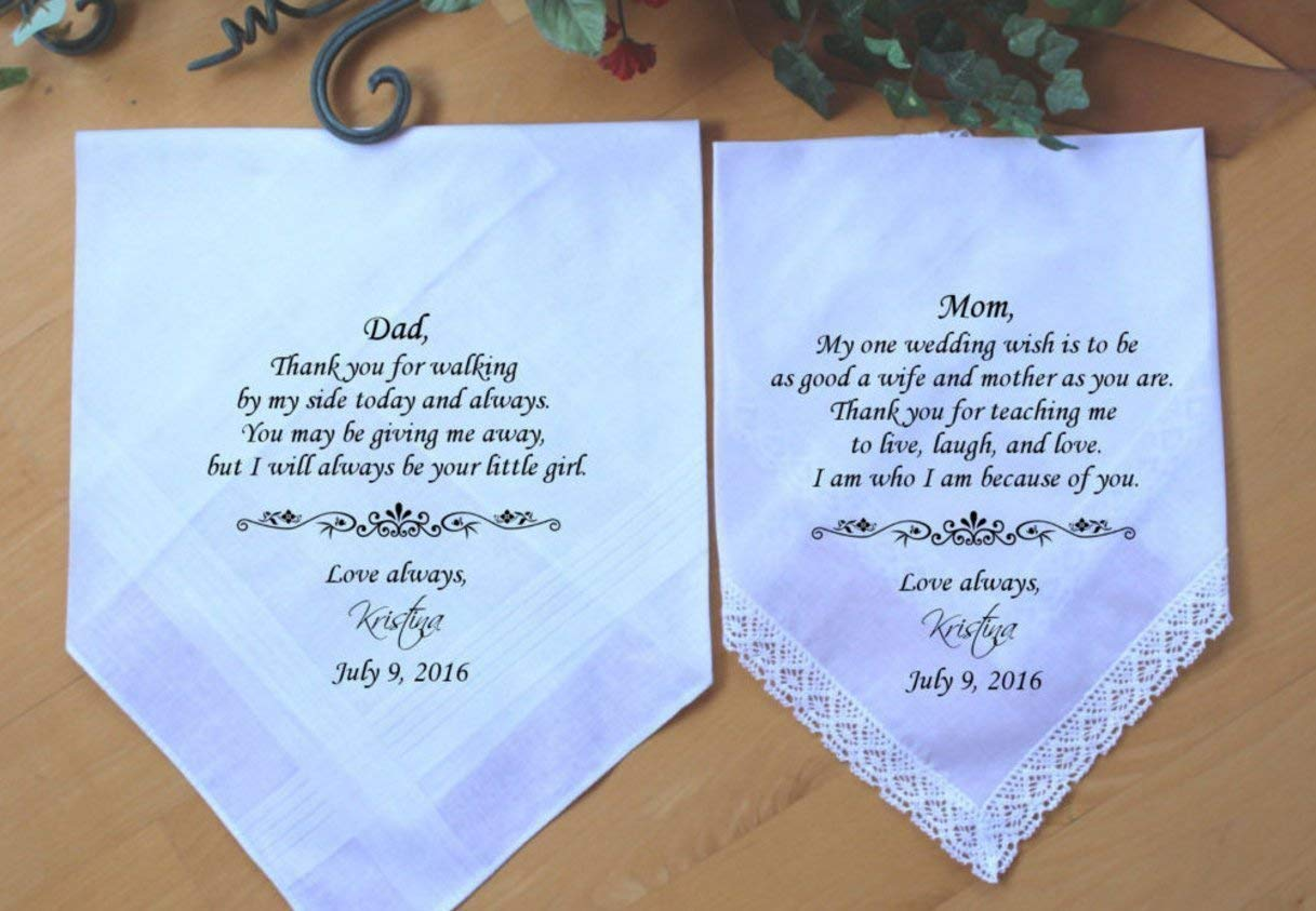 Set of 2 Mother of the Bride handkerchief, Father of the Bride wedding hankie, parents wedding gift favor, Custom. MS1LS6FMON by Snugahug[3]