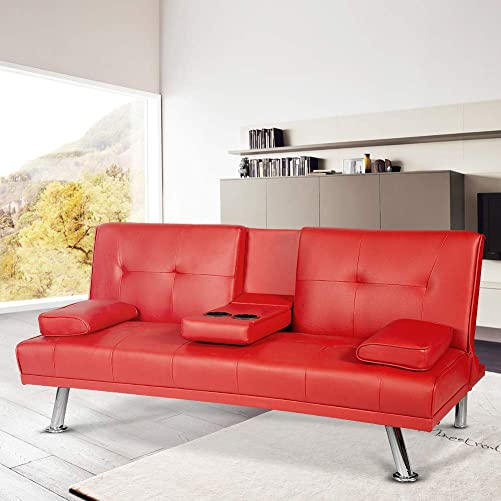LTTROMAT Convertible Futon Sofa Bed Modern Faux Leather Recliner Small Couch w Metal Legs, 2 Cup Holders Red