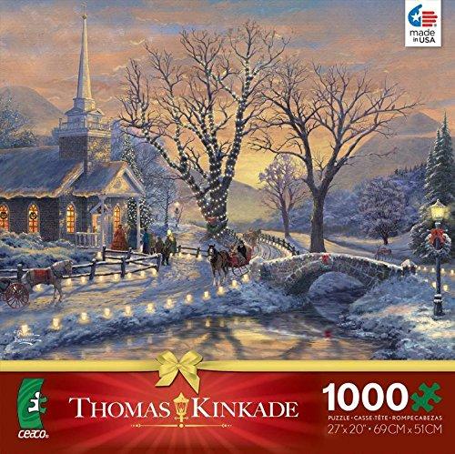 qiyun ceaco thomas kinkade 2014 christmas jigsaw puzzle holiday evening sleigh ride