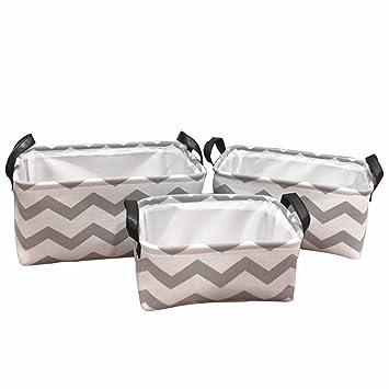 znvmi algodón Cestas Juego plegable juguete caja cesta para estanterías sin tapa Organizador para estantería y armario - Chevron: Amazon.es: Hogar