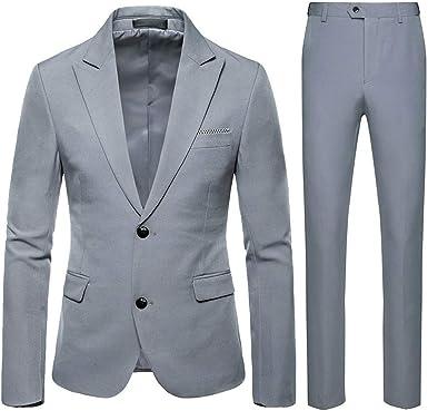 Trajes Para Hombre Moda Ajuste Moderno Conjuntos Abrigo Y Pantalon Fiesta De Bodas De Negocios Color Solido Trajes Hombre Vestir De 2 Piezas Para Hombre Chaqueta Y Pantalones Amazon Es Ropa Y Accesorios