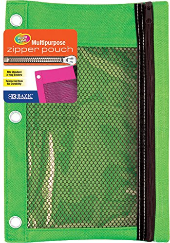 Bazic 3-Ring Pencil Pouch with Mesh Window