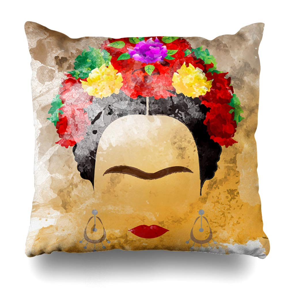 Ahawoso Throw Pillow Cover Pillowcase Red Mexican Watercolor Frida Ethnic Carnival Design Zippered Square Size 16 x 16 Inches Home Decor Cushion Case