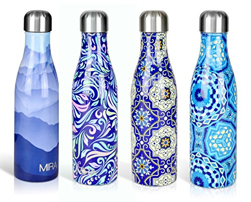 MIRA Double Walled Stainless Steel Cola Shape Water Bottle, 17-Ounce - Blue - Liquid Ounce 17