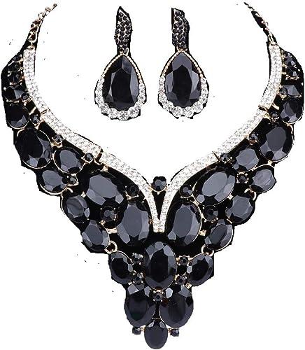 Women Silver Jewelry Sets Wedding Bridal Crystal Rhinestone Necklace Earrings AB