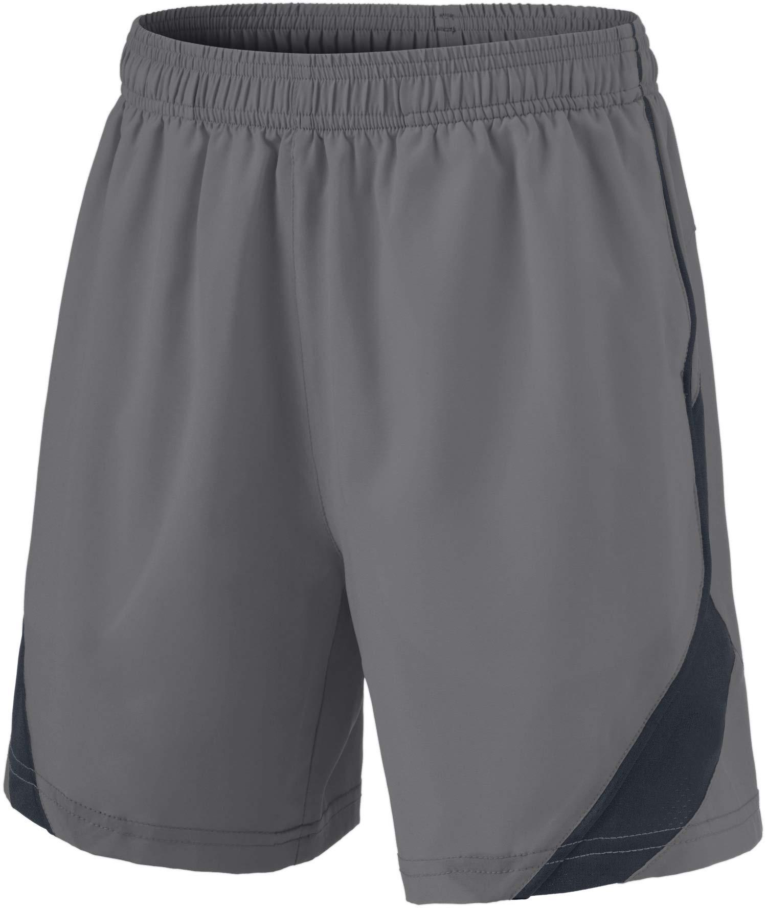 TSLA Boy's Active Shorts Sports Performance Youth HyperDri II w Pockets, Stretch Pace(kbh76) - Light Grey, Youth Large by TSLA