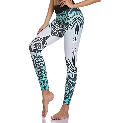 863ef586bc Image Unavailable. Image not available for. Color: Women Yoga Pants Sports  Leggings White Print Fitness Wear Workout Sports Running Push Up Gym Elastic