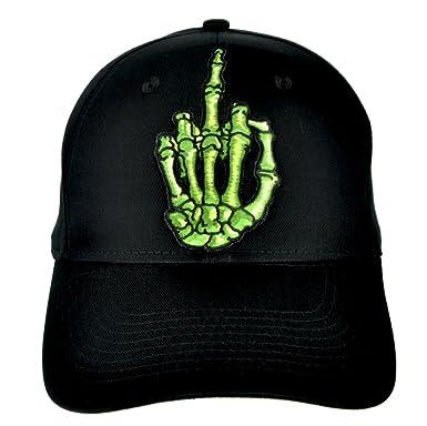 67eb36e1654 Amazon.com  Skeleton Hand Middle Finger Hat Baseball Cap Skater Thrasher  Clothing  Clothing