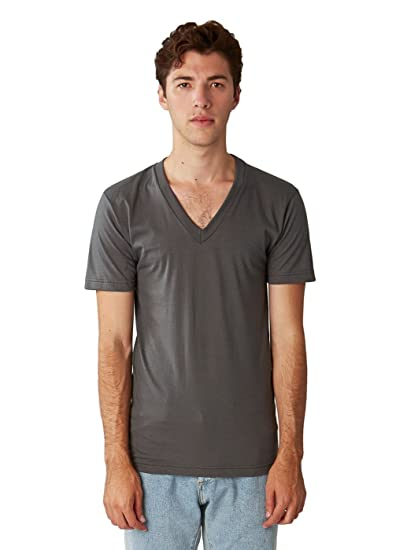 acff4caae3 American Apparel Men Fine Jersey V-Neck T-Shirt Size L Asphalt | Amazon.com