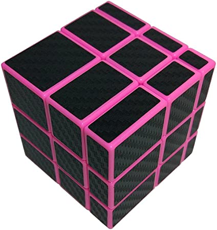 RainbowBox Mirror Cube 3x3 Unequal Speed Cube Carbon Fiber Sticker Puzzle Toys Pink 3x3x3 Magic Cube
