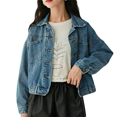 adf20d1a7b Image Unavailable. Image not available for. Color: Beskie Boyfriend Denim  Jacket for Women Oversized Long Sleeve Jean Jacket Loose Coats