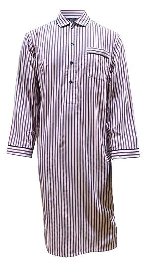 Lloyd Attree   Smith Men s Luxury Cotton Nightshirt - White with Navy   Red  Stripes ( 09201769b