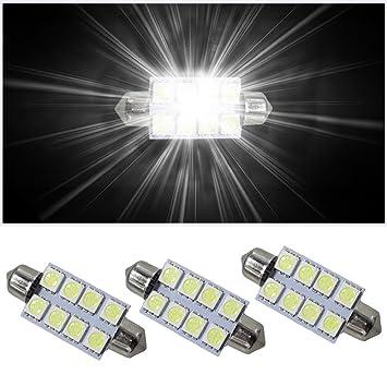 Bombilla LED para interior de coche 13843 8Xsmd de Muchkey, luz blanca, con fusible C10W, 42 mm, 3 unidades: Amazon.es: Coche y moto