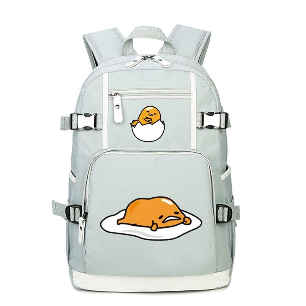 Siawasey Cute Naughty Gudetama Lazy Egg Backpack Shoulder Bag School laptop Bag Bookbag (White5)