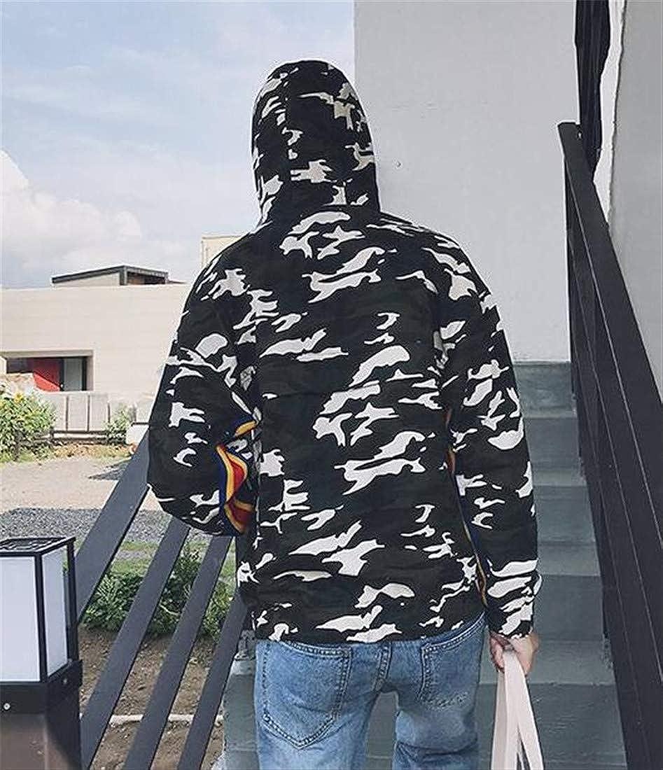 GloryA Mens Slim Classic Hoodie Pullover Camouflage Zipper Sweatshirts