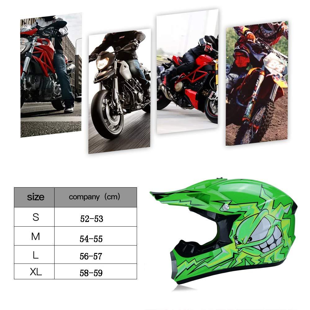 TKUI Motos Motocross Cascos y Guantes y Gafas est/ándar para ni/ños ATV Quad Bicicleta go Casco de Kart