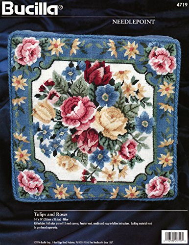 (Bucilla Needlepoint Kit Tulips and Roses Blue Pillow #4719 1996)