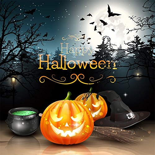 Baocicco Happy Halloween Backdrop Poster Background 6x6ft Vinyl Photography Background Full Moon Night Grimace Pumpkin Lantern Wizard Hat Broom Magic Potion Flying Bats Gloomy Tree Spooky Party ()