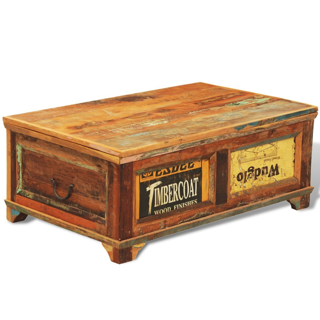 Boxes/chests 1 X Old Vintage Wooden Tea Chest Crate Side Table Coffee Furniture