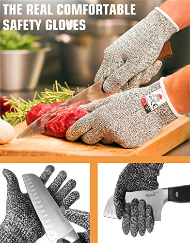 Premium Cut Resistant Gloves, Food Grade,CE Level 5 Protection-Safety,Lightweight Cut Protection Gloves [Extra Comfortable] for Kitchen Outdoor Indoor Work (1 pair) (Large)