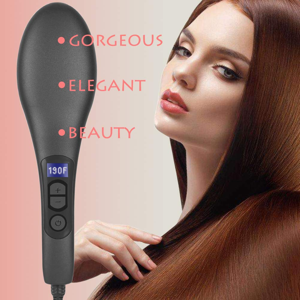 Women Hair Straightener Brush | Electric Ceramic Anti-Scald Fast Heating Hot Comb | Portable Ionic Frizz-Free Hair Styling Tools | Travel Hair Straightening Brush (Black)