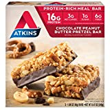 Atkins Meal Bars, Chocolate Peanut Butter Pretzel, 16g Protein, 1g Sugar, 3g. Net Carbs, 8.47-Ounce, 5-Bars (Packaging May Vary)