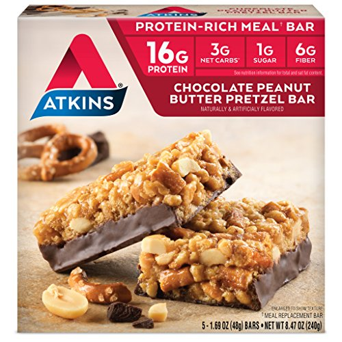 Atkins Protein-Rich Meal Bar, Chocolate Peanut Butter Pretzel, 5 Count