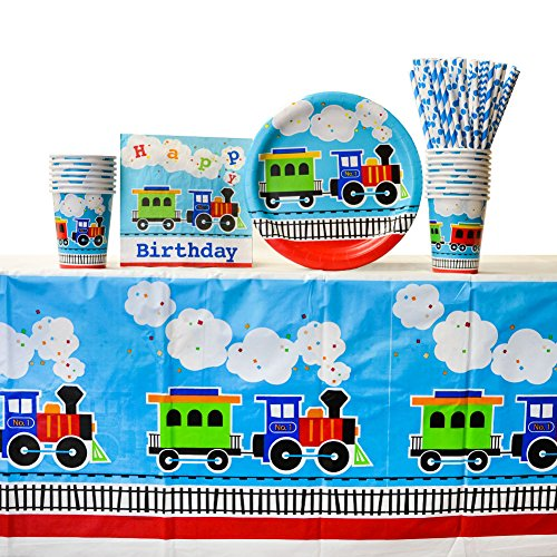 All Aboard Supplies Pack for 16 Guests| Straws, 16 Dinner Plates, 16 Luncheon Napkins, Table Cover and 16 Paper Cups | Train Table Setting For The Perfect Train Birthday Party | Choo Choo Train Party
