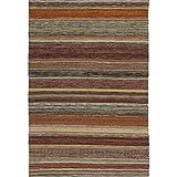 Safavieh Striped Kilim Collection STK311A Hand Woven Beige Premium Wool Area Rug (4' x 6')