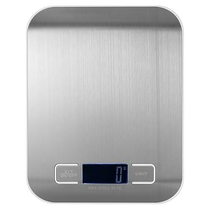 Decdeal Multifuncional Balanza de Cocina Mini Portátil,Báscula Electrónica con Pantalla LCD de Acero Inoxidable