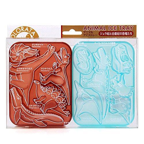 카로라타 동물 모양틀 아이스 트레이 (동물) 실리콘 초콜릿 몰드 [식기 세척기 가능] 쥬라기와 백악기의 공룡들 (브라운 × 블루) 약 10 × 13.5 × 2.8cm