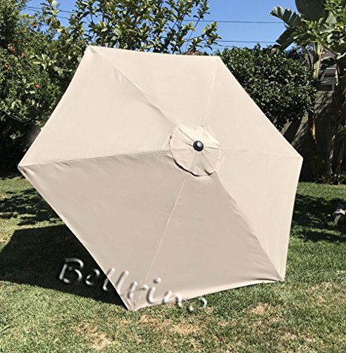 BELLRINO DECOR Replacement LIGHT COFFEE TAN STRONG THICK Umbrella Canopy for 9ft 6 Ribs LIGHT COFFEE TAN Canopy Only