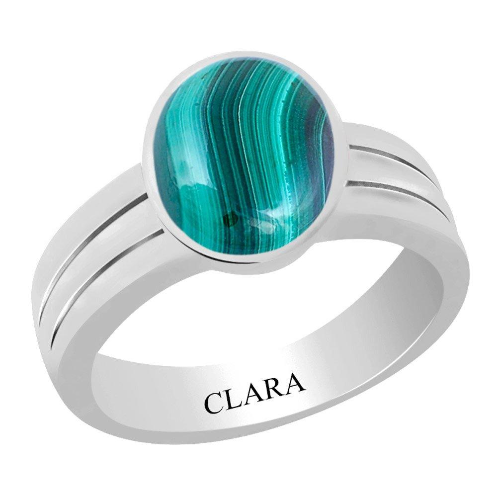 5.5Cts Or 6.25Ratti Stunning Silver Ring Daana Firang Clara Certified Malachite