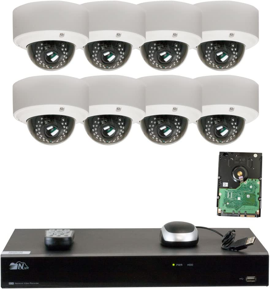GW Security 8CH H.265 4K NVR 5-Megapixel 2592 x 1920 4X Optical Zoom Network Plug Play Video Security System, 8pcs 5MP 1920p 2.8-12mm Motorized Zoom POE Weatherproof Dome IP Cameras