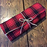 Red Plaid & Natural Burlap Table Runner-Reversible