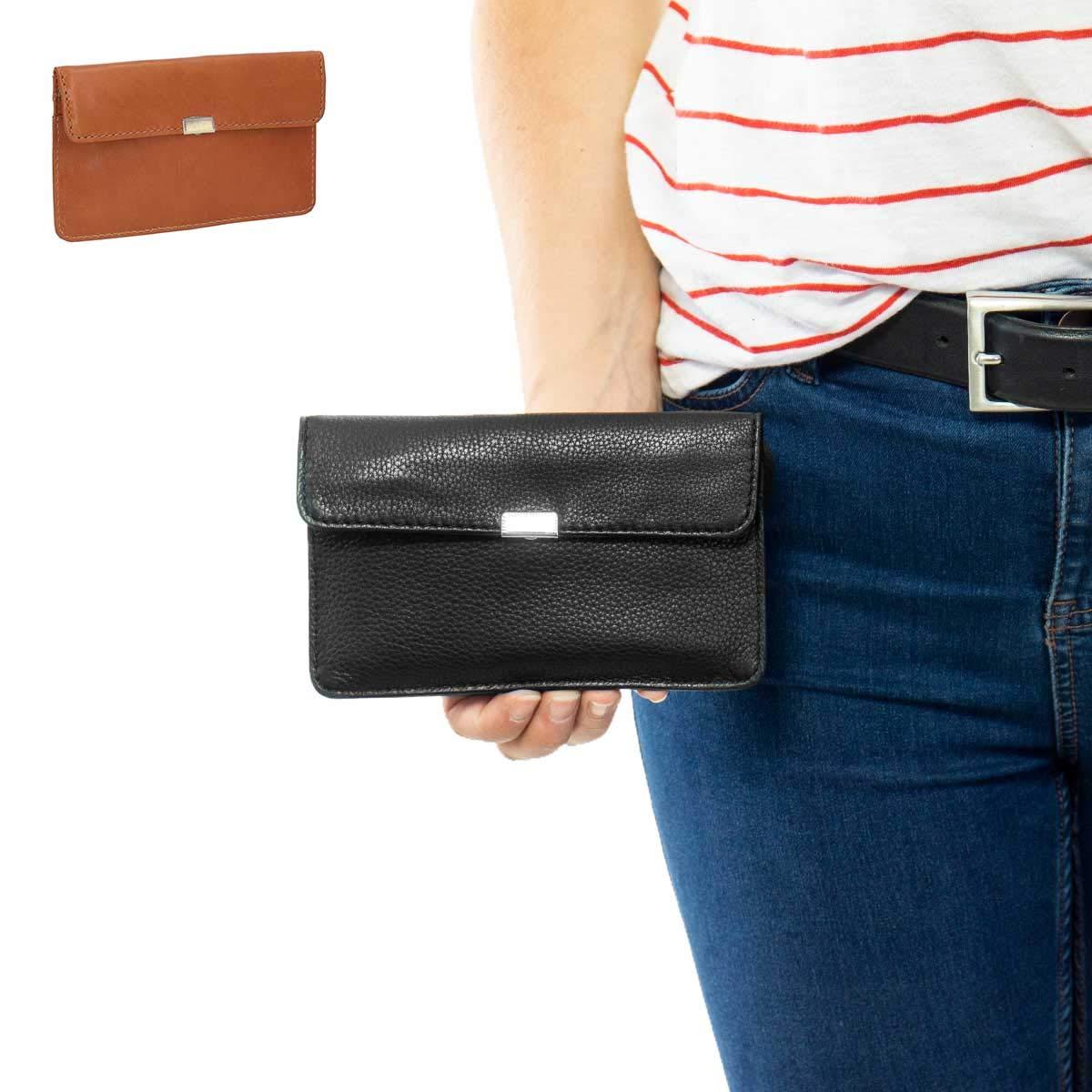 Gusti Leder Rani dise/ño Vintage Color Negro Monedero de Piel para Mujer