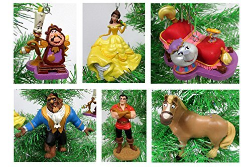 Beauty and the Beast Holiday Christmas Ornament Set - Unique Shatterproof Plastic Design