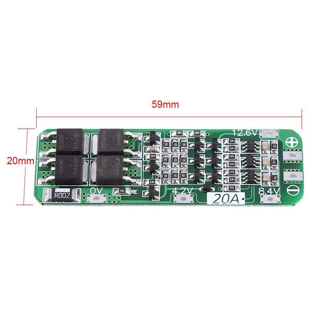 Fansport 12,6 V 20A PCB BMS Schutzplatine F/üR 18650 Li Ion Lithium Batteriezellenmodul