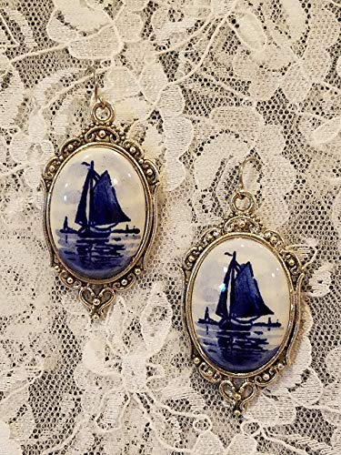 Porcelain Cameo Ring - Blue Delft Porcelain Cameo Earrings in Silvertone Filigree Frame