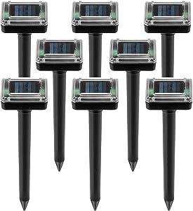 ZGWJ 8 Pack Solar Spike, Ultrasonic Solar Powered Animal Stopper for Lawn Garden Yard