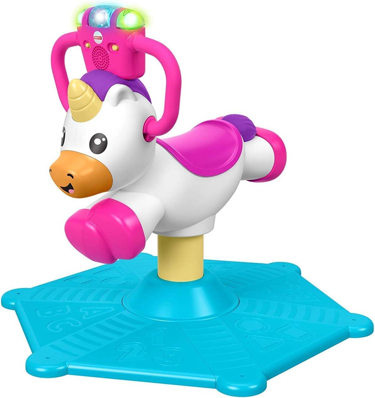 Fisher-Price GHY50 Bounce and Spin Unicornio, Juguete de Viaje Musical estacionario, Multicolor
