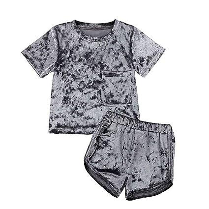 Conjunto Bebe Niña Verano Shorts de Terciopelo Color Sólido ...