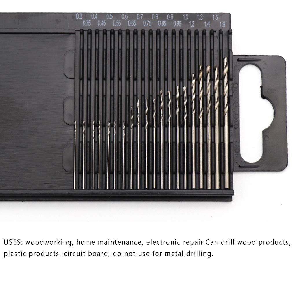Conjunto HSS Torsi/ón Mini Juego de Brocas para Taladro de Mano Taladro Juego de Brocas de Taladro de torcedura de Herramientas de Bricolaje 0.3-1.6mm Di/ámetro Aiming 20pcs