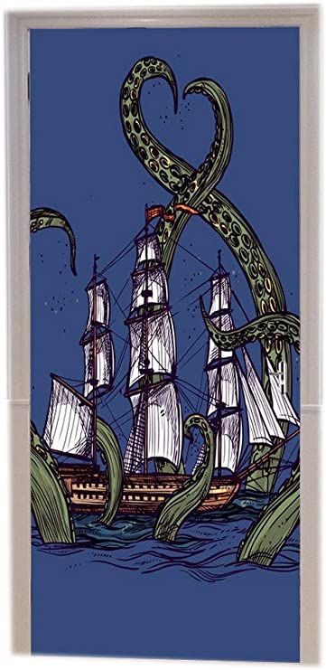 A.Monamour Pegatinas De Pared Mano Bosquejo Dibujado Monstruo Marino Gigante Pulpo Kraken Pirata Barco Océano Olas Arte Azul Vinilo Puerta Calcomanías Papel Tapiz Murales De Pared Pegatinas Posters: Amazon.es: Hogar