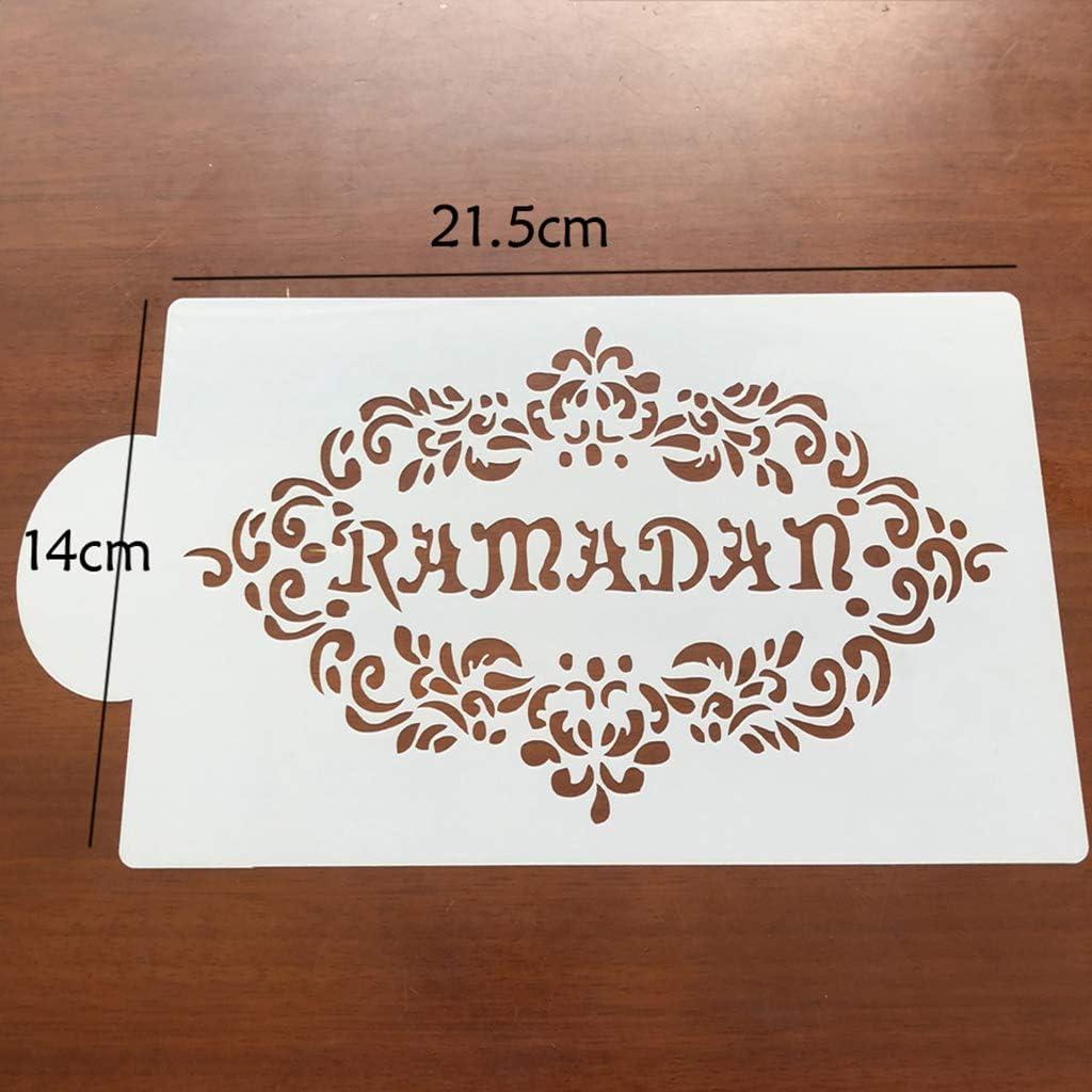 Shefii Lot de 6 pochoirs en forme de fleur de caf/é Eid Mubarak Ramadan pour d/écoration de g/âteaux