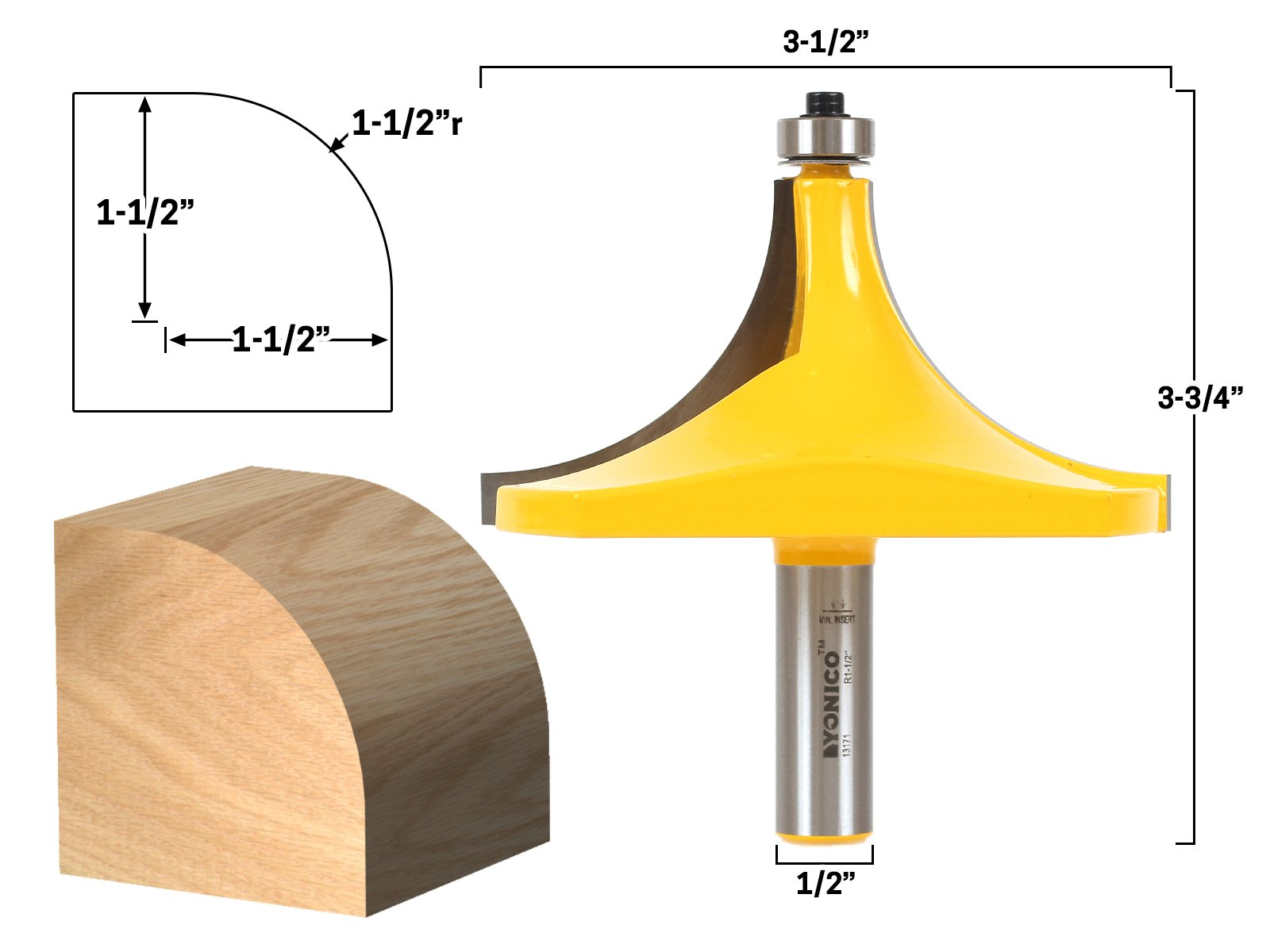 Yonico 13171 Yonico 13171 Round Over Edging Router Bit - 1-1/2'' Radius 1/2'' Shank, by Yonico (Image #2)