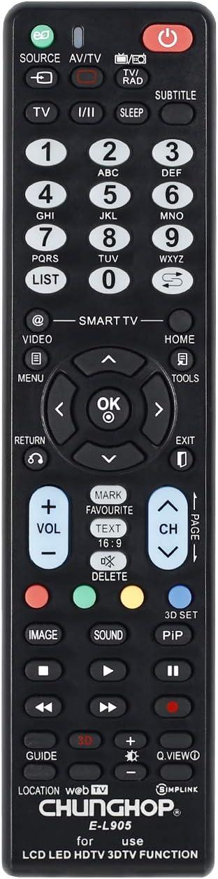 Universal mando a distancia E-L905 para LG LCD/LED/HDTV TV mando a ...