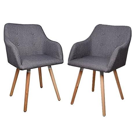 BIGTREE Set di 2 sedie Tessuto Poltrona Retro Leisure sedie Sedile ...