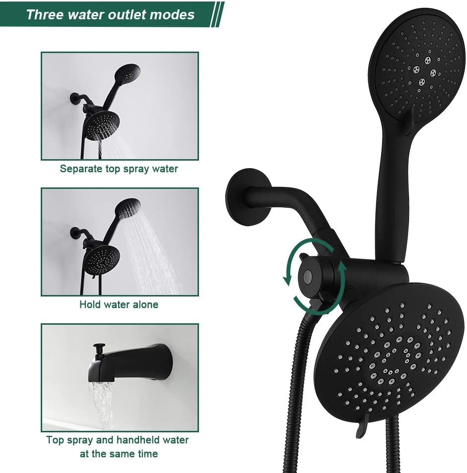 AIHOM 2 Shower head System(Valve Included), Black Shower Trim Kit With Top Spray, 5 Function Hand Shower And Tub Faucet - -